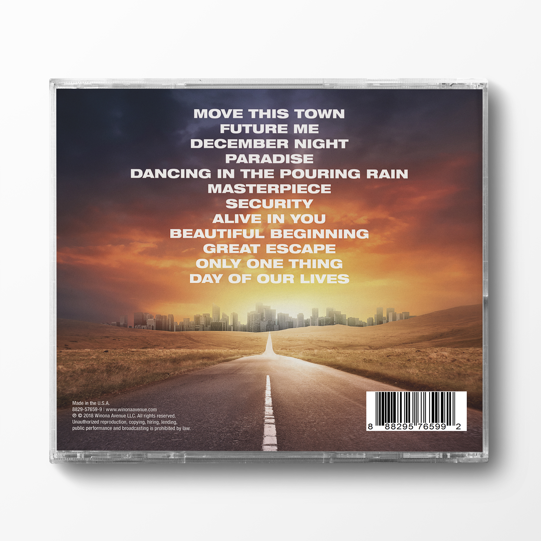 Back of Winona Avenue self-titled CD case.